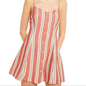 Urban Outfitters Striped Ladder Back Linen Mini
